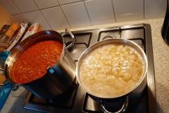 De pasta is klaar
